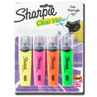 Sharpie Clear View Highlighter, Chisel Tip, 4 Pack