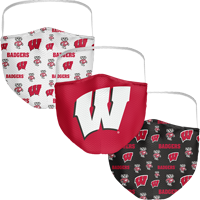Image For Fan Wisconsin Badgers 3-Pack Face Masks
